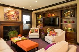 Vibrant Transitional Family Room Before And After - Family room