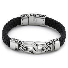 black bracelet men images Antique braided black leather men 39 s bracelet stainless jpg