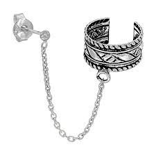 cuff earrings with chain sterling silver ear cuff earring with chain