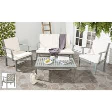 Outdoor Lounge Furniture Wood Dining Chair Wood Gray Patio Conversation Sets Outdoor