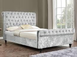 Studded Bed Frame Arianna King Size Silver Crushed Velvet Glitz Fabric Bed Frame