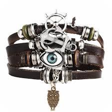 men charm bracelet images Vintage multiple layer turkish eye charms bracelet for men women jpg
