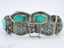 silver antique bracelet images Antique chinese turquoise silver filigree panel bracelet w safety jpg
