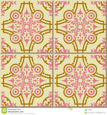 vintage seamless wall tiles of pink gold round kaleidoscope line
