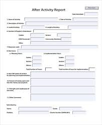 after report template 15 activity report templates free sle exle format