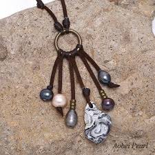 stone pendant leather necklace images Aobei pearl handmade necklace made of freshwater pearl genuine jpg