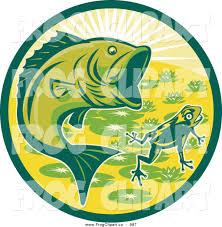 clip art of a green largemouth bass fish and frog circle by