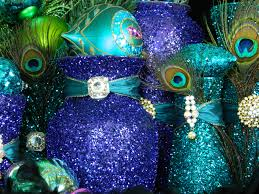 wedding decoration magnificent purple and blue glitter peacock
