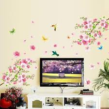Large Wall Stickers For Living Room 3d flower wall stickers peach blossom wall stickers living room