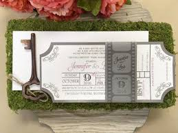 Movie Ticket Wedding Invitations Movie Ticket Themed Flat Invitation With Film Strip Belly Band