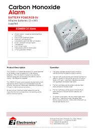 carbon monoxide detector flashing green light ei electronics carbon monoxide alarm ei 204en user manual 2 pages