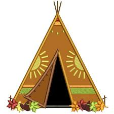 Indian Thanksgiving Wigwam Tent Thanksgiving Applique Machine Embroidery Design
