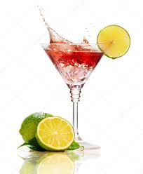 martini cocktail red martini cocktail with splash and lime isolated u2014 stock photo