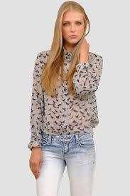 bird blouse standards practices s birds print button silk shirt