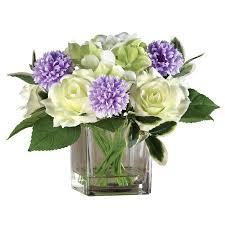 Artificial Flower Arrangement In Vase Zinnia And Roses Faux Artificial Flower Arrangement In Glass Vase