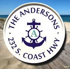 monogram plaques house sign nautical anchor gift monogram plaque family