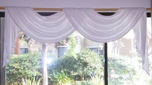 white bleached muslin rod pocket pole swag and jabot valance