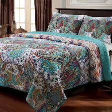 turquoise quilted coverlet home fashions nirvana paisley quilt set