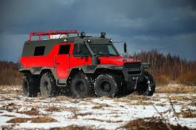 off road car shaman all terrain vehicle tires on low pressure of russian production