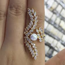 long rings design images Godki angel wing feather design long full finger luxury pearl jpg