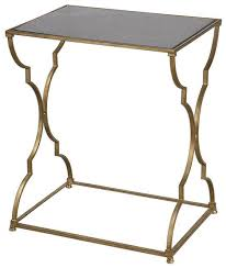 glass top gold frame accent table