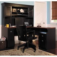 bush fairview computer desk and optional hutch in antique black