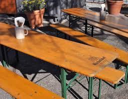 german beer garden table and bench restaurant visit suppenküche biergarten in sf beer garden bench
