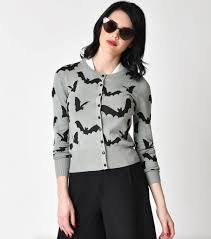 retro style grey u0026 black flying bats long sleeve knit cardigan