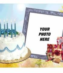 photo frame with birthday cake and gifts photofunny