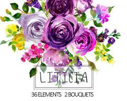 purple watercolor flowers clipart floral bouquets wreath drawings