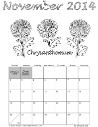 november 2014 flower coloring calendar page printable crafts and