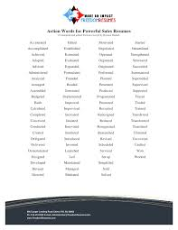 list of adjectives for resume action words for successful sales resumes