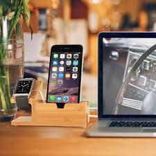 support bureau iphone chargeur support bureau en bois bambou 3 port usb pour