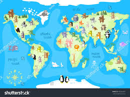 World Continent Map Concept Design World Map Animals All Stock Vector 403555981