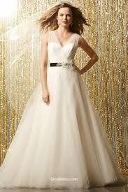 ethereal tulle v neck modest bridal ball gown with floral sash