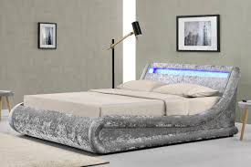 King Ottoman Madrid Led Lights Silver Crushed Velvet Fabric Ottoman Storage Bed