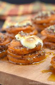 thanksgiving yams with marshmallows candied sweet potato stacks cooking with curls