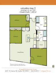 3 Bed 2 Bath Floor Plans by Studio 1 2 U0026 3 Bedroom Apartments In Seattle Bridges 11th