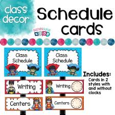 themed schedule cards by teaching superkids tpt