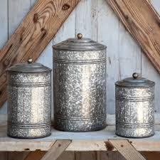 9283 antique style rustic canister set tin 3 pc vintage country