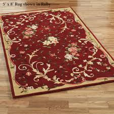 Round Red Rugs Floral Scroll Round Rugs
