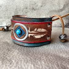 leather jewelry cuff bracelet images Handmade leather native american stamped feather cuff bracelet jpg