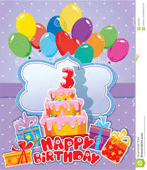 baby birthday card with balloons big cake and gift boxes three