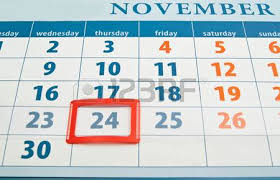thanksgiving day date on calendar closeup background stock photo