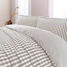 gingham check reversible yarn dyed 100 cotton t200 duvet cover