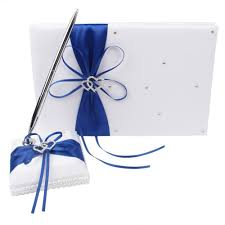 wedding ring royal blue pillow flower basket guest book pen set