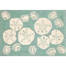 trans ocean frontporch 1408 04 shell toss aqua novelty rug