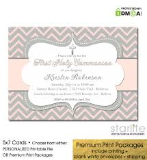 communion invitations for girl girl communion invitation blush pink gray chevron