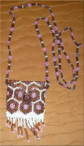 beaded medallion necklace images Beaded medicine bag necklace with honeycomb and pink daisies jpg