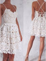 white lace a line spaghetti straps lace up white lace homecoming dress